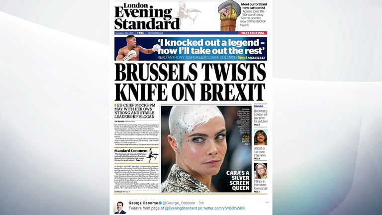 A tweet by George Osborne of the front page of the London Evening Standard