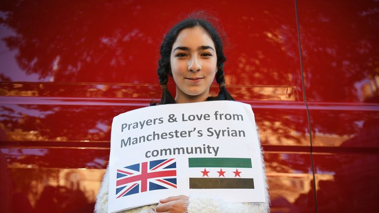A member of Manchester's Syrian community attended to pay her respects and show solidarity