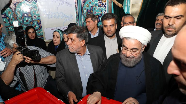 Rouhani casting his vote