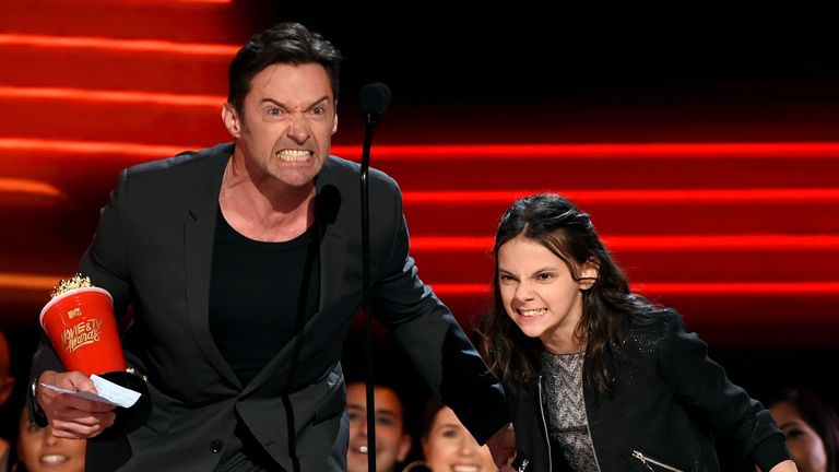 Hugh Jackman and Logan co-star Dafne Keen accept the Best Duo award