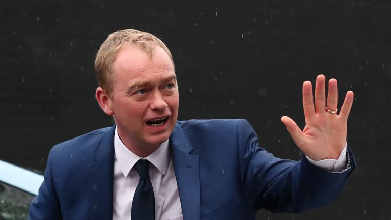 Liberal Democrats leader Tim Farron arriving for the party's manifesto launch