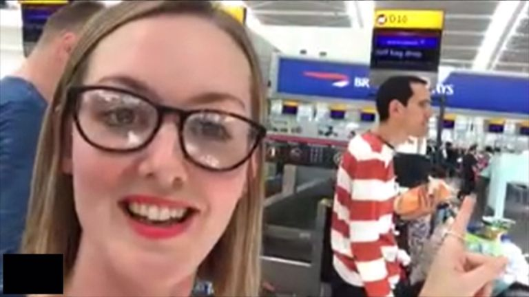 Passenger Harriet Mackie stranded at Heathrow amid the IT disruption
