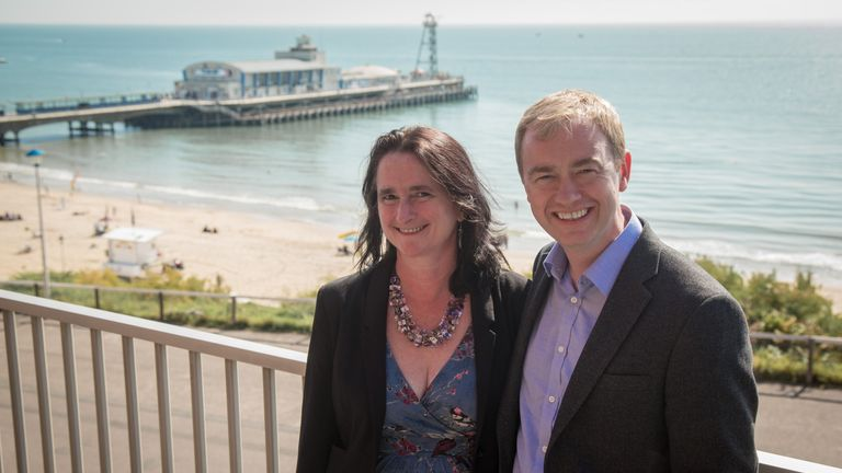 Tim Farron with his wife, Rosie, at the party conference in Bournemouth in 2015
