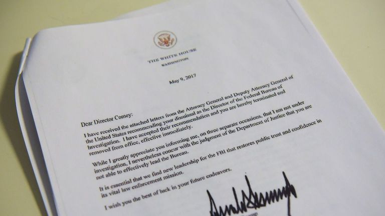 A copy of the termination letter to FBI Director James Comey from Donald Trump
