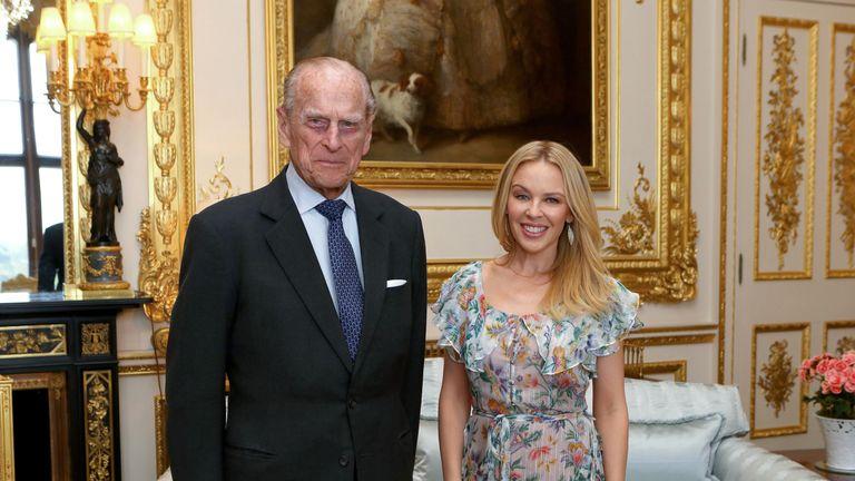 The Duke of Edinburgh with Kylie Minogue