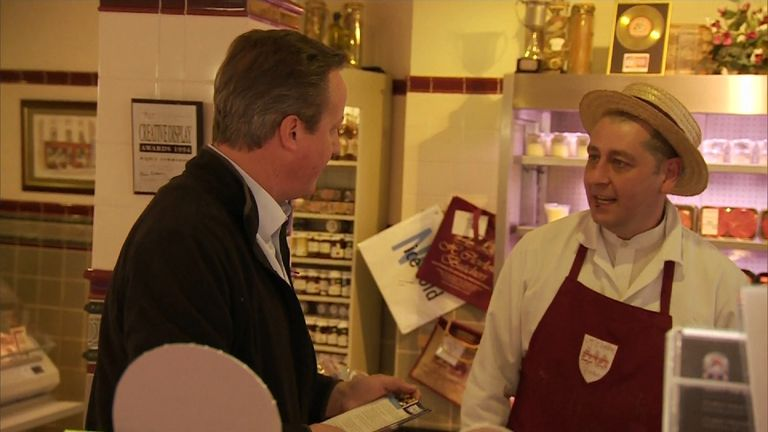 Mr Cameron dropped into the butcher's