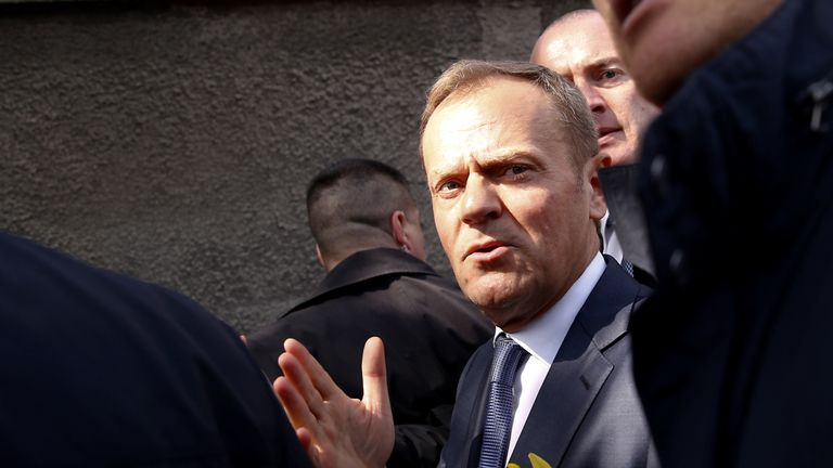 Donald Tusk, the President of the European Council, arrives at the central train station in Warsaw