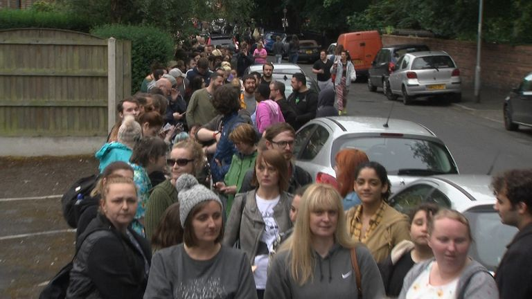 Long queue for tattoo studio