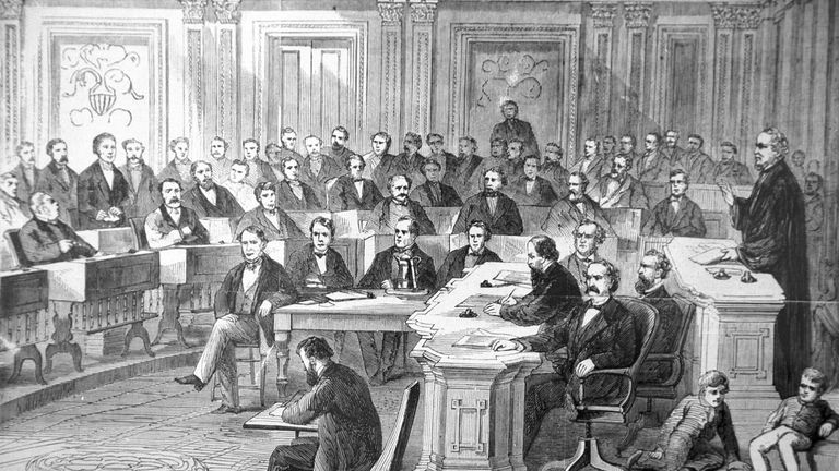 An engraving showing the impeachment trial of President Andrew Johnson in the Senate March 13, 1868.
