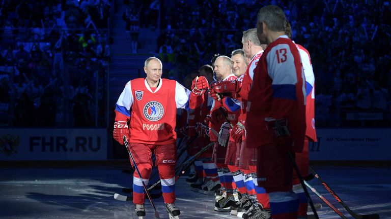 Russian President Vladimir Putin takes part in a gala match of the hockey teams of the Night League in Sochi, Russia