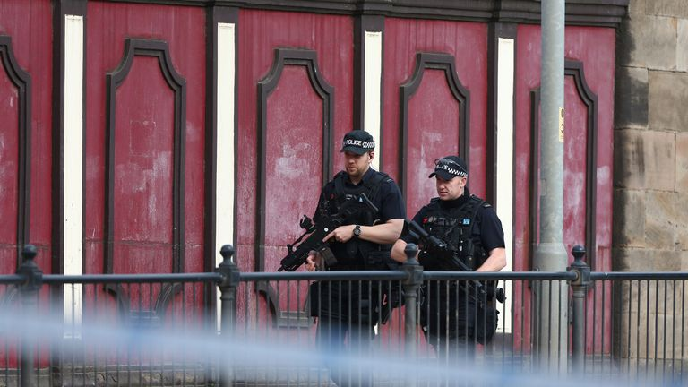 Armed police patrol the streets the morning after the terrorist attack