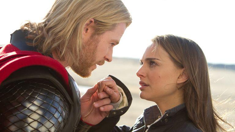Natalie Portman and Chris Hemsworth in Thor
