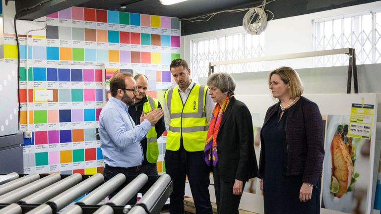 Theresa May visits a design factory in Brentford