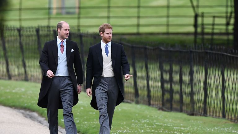 Princes William and Harry arriving at the church in Englefield in Berkshire