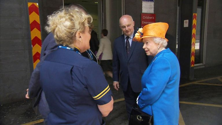 The Queen arrives to meet victims of the bombing at the Royal Manchester Children's Hospital