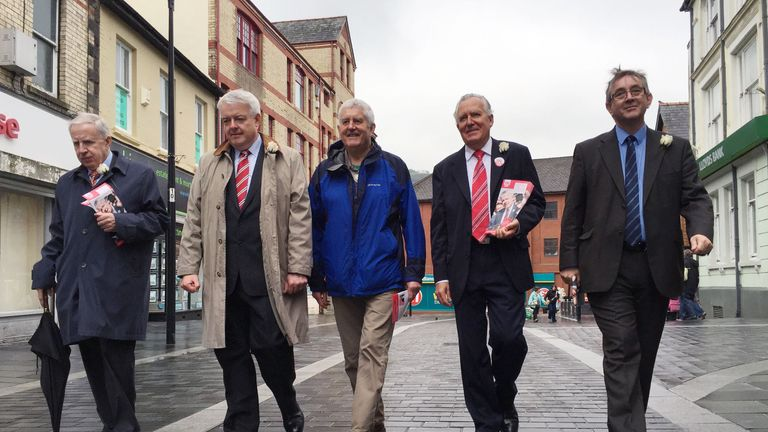 Mr Morgan with Peter Hain on the Remain campaign trail in 2016