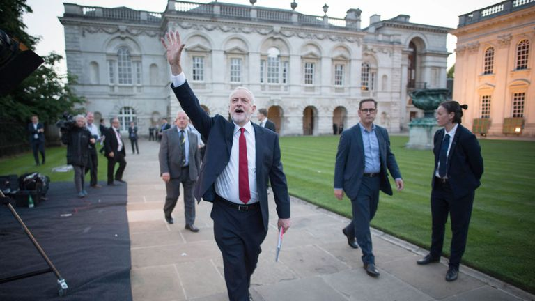 Jeremy Corbyn waves to supporters after taking part in the BBC Election Debate