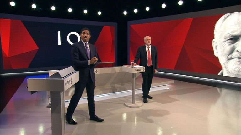 Jeremy Corbyn answers a question on Trident