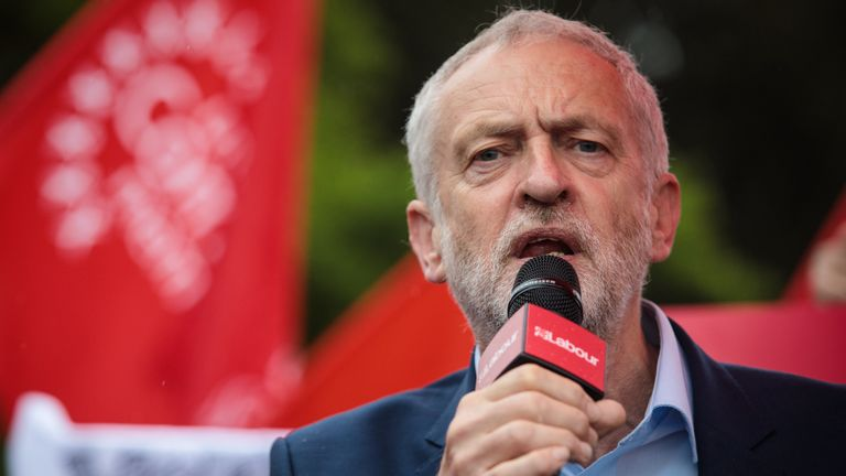 Labour Party Leader Jeremy Corbyn speaks to supporters during a campaign rally