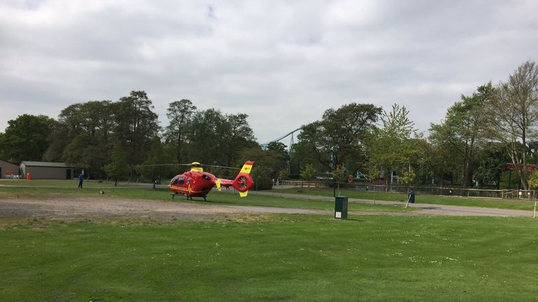 Emergency helicopter at Drayton Manor Theme Park in Tamworth