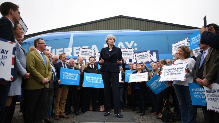 Theresa May at the launch of the Conservative campaign bus in Northumberland