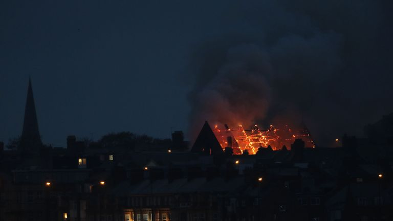 Fire takes hold of Trinity United Reformed Church in Whitley Bay, Tyne and Wear. Northumbria Police said