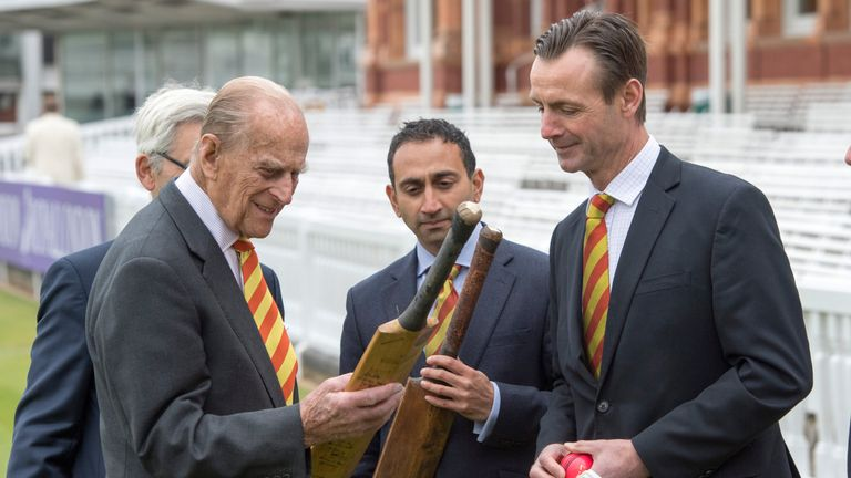 The Duke of Edinburgh speaks to John Stephenson as he opens the new Warner Stand at Lord's Cricket Ground