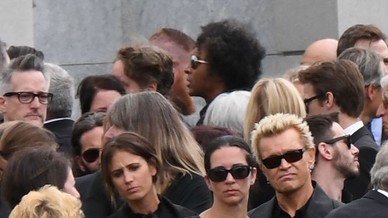 Billy Idol (r) attends the funeral and memorial service for Soundgarden frontman Chris Cornell