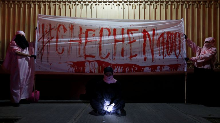 Protesters at the Russian embassy in Mexico City made a banner with their own blood