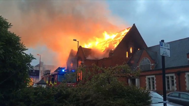 The fire in the disused church in Whitley Bay was attended by 40 firefighters. Pic @calsoul
