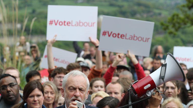 Jeremy Corbyn makes a stump speech on a campaign visit to Huddersfield