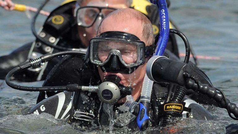Vladimir Putin diving at an underwater archaeological site at Phanagoria on the Taman Peninsula