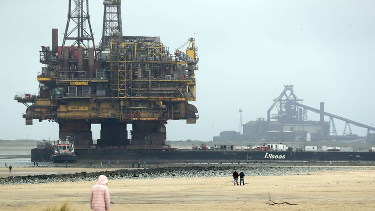Oil platform brought to shore for scrapping after 40 years at sea