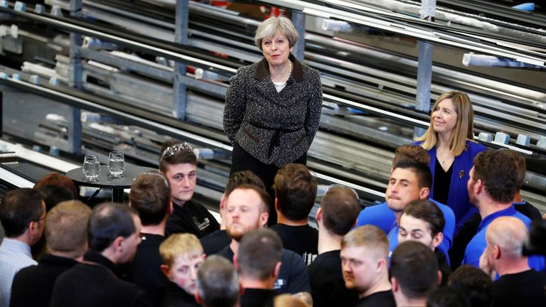 Prime Minister Theresa May visits a door manufacturer in Leeds
