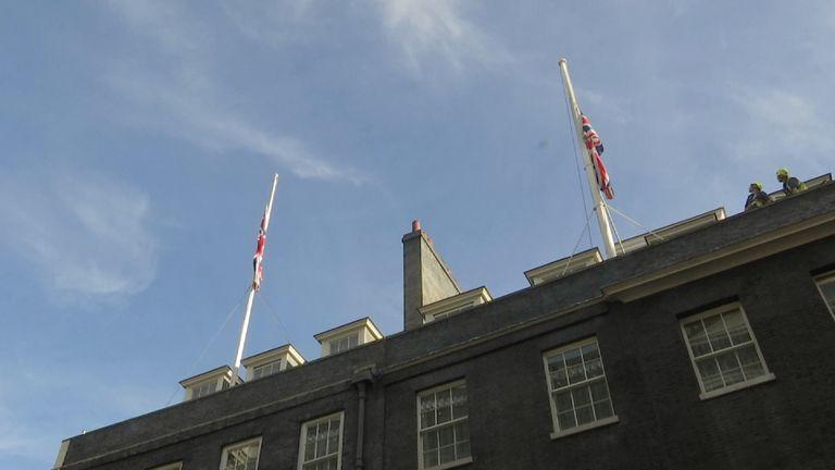 Flags fly at half mast at Downing Street