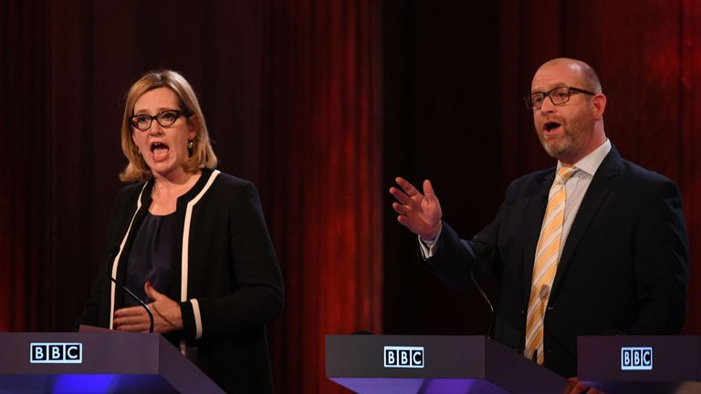 Home Secretary Amber Rudd and UKIP leader Paul Nuttall take part in the BBC Election Debate