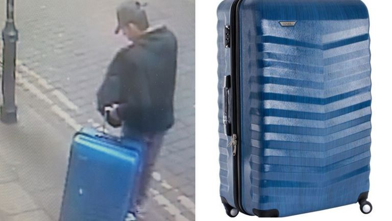 An image of Salman Abedi with a blue suitcase taken in Manchester city centre on 22 May and a reproduction of the suitcase