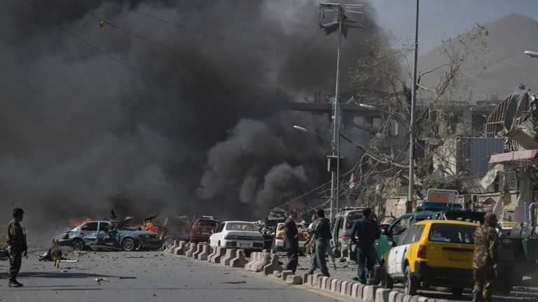 The area immediately around the bomb site was filled with thick, black smoke
