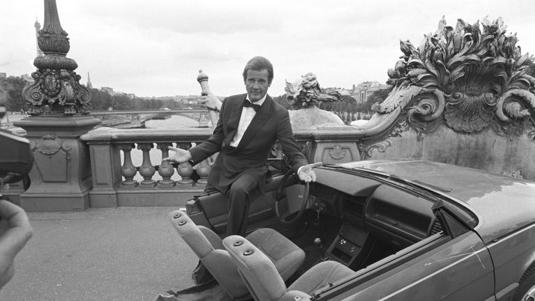 On the set of A View To A Kill in Paris in 1984