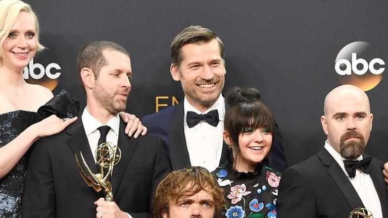 Nikolaj Coster-Waldau with fellow GOT actors at last year's Golden Globes