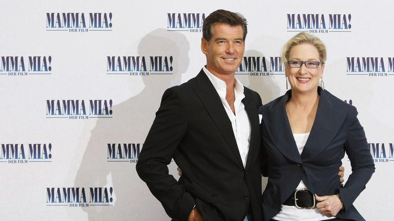 Pierce Brosnan and Meryl Streep at the German premiere of the original Mamma Mia!