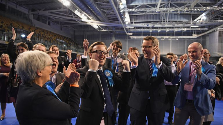 Thomas Kerr Conservative candidate for Shettelston celebrates winning a Glasgow Council seat