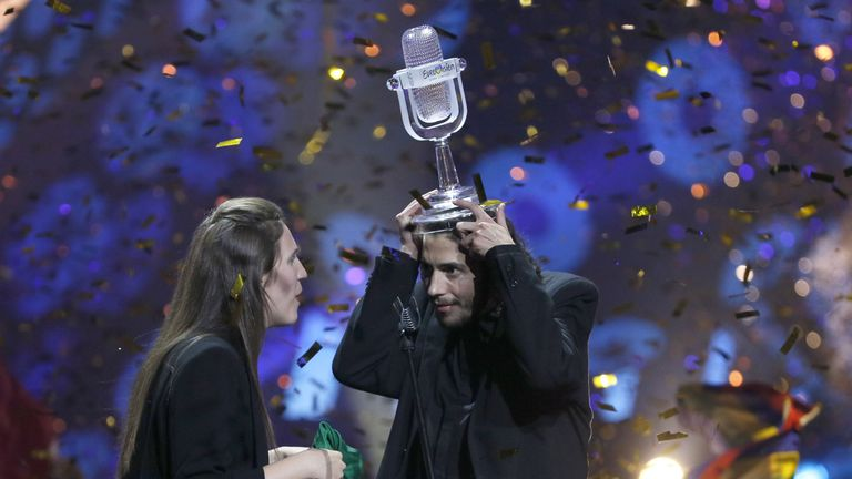 Portugal's Salvador Sobral celebrates after winning the grand final