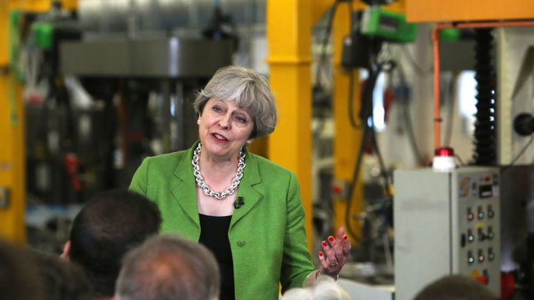 Prime Minister Theresa May speaks during a General Election campaign visit to Cross Manufacturing in Odd Down, near Bath