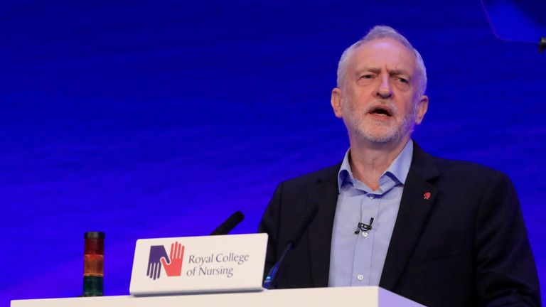 Jeremy Corbyn speaks at the Royal College of Nursing conference