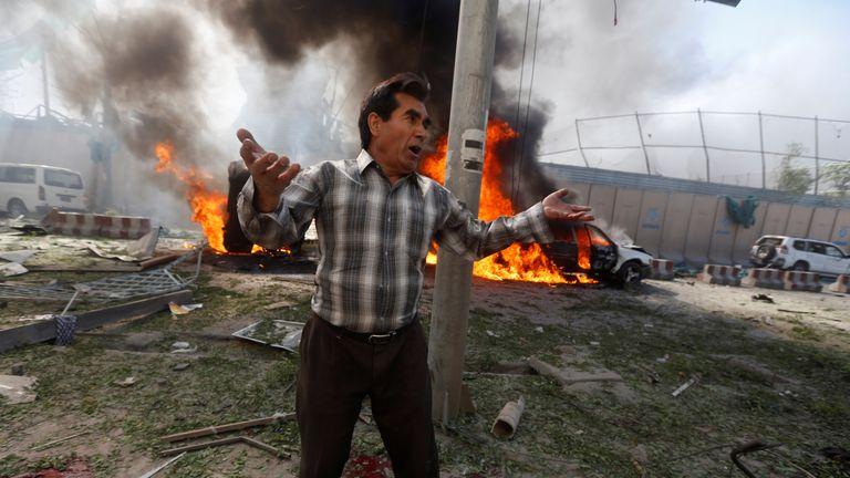 An Afghan man near the site of the car bomb