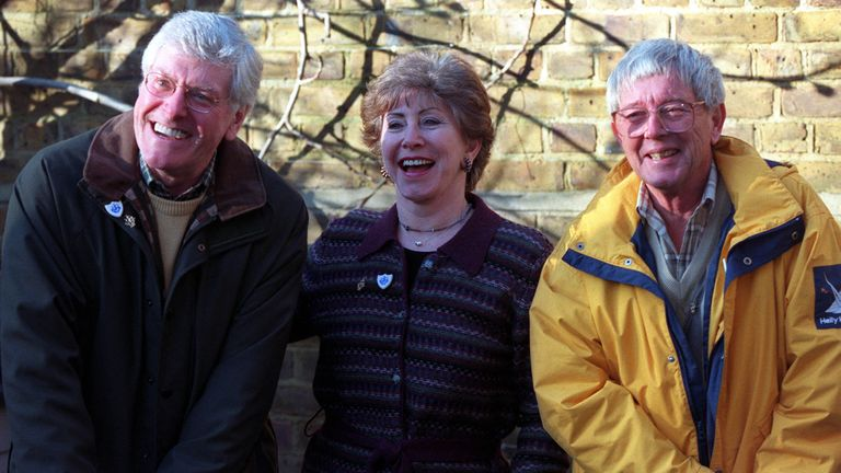 John Noakes (right) with fellow former presenters Peter Purves and Val Singleton in 2000