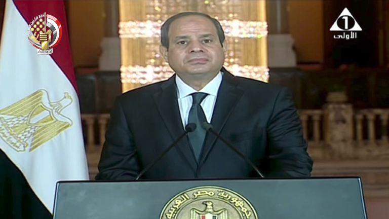 Egyptian president Abdel Fattah al-Sisi announces airstikes on Libyan terror camps