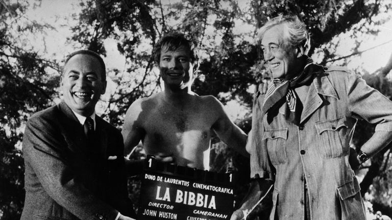 Parks (C) with producer Dino de Laurentiis and director John Huston while filming biblical epic The Bible: In the Beginning