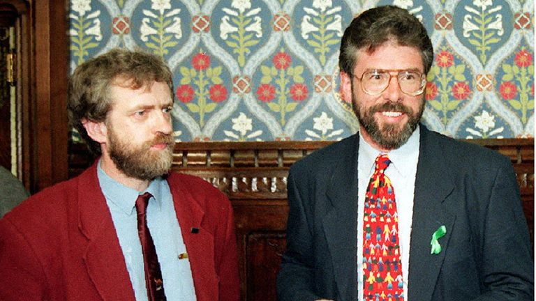 Corbyn (left) with Sinn Fein President Gerry Adams, at the Commons in 1994